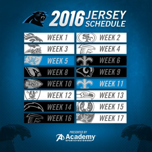 Panthers Release Uniform Schedule - WCCB Charlotte 69f0cf6e0