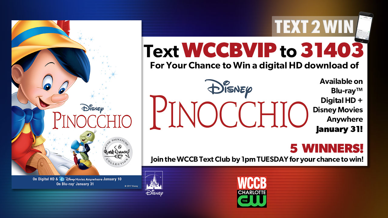 Win a digital download of Disney's Pinocchio from WCCB, Charlotte's CW