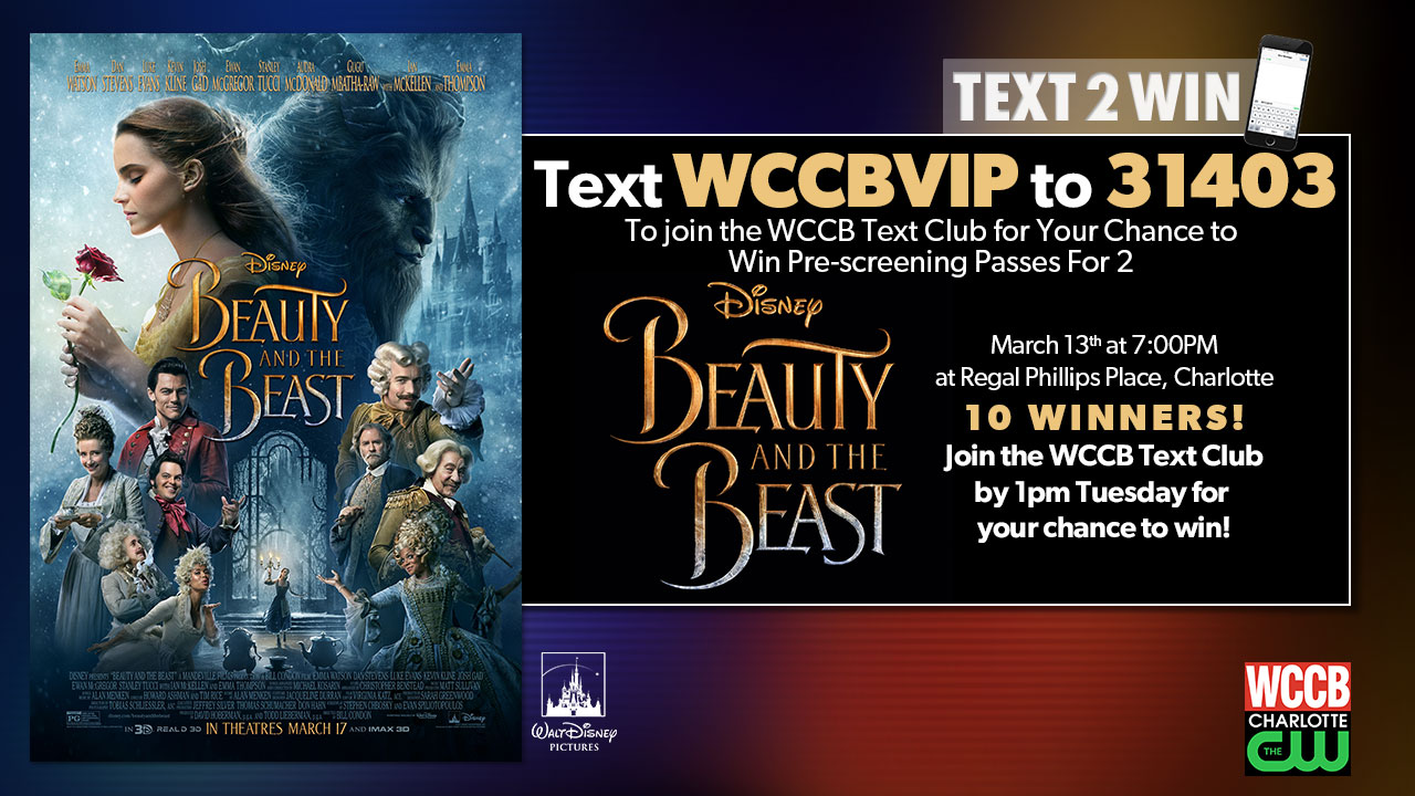 Win Beauty and the Beast pre-screening passes from WCCB, Charlotte's CW