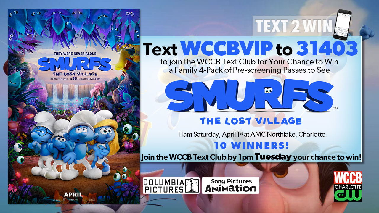 Win a family 4-pack of passes to see an advanced screening of Smurfs: The Lost Village from WCCB, Charlotte's CW