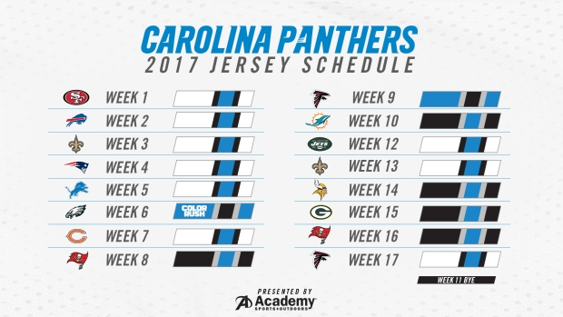 Eagles Black Jersey Green Pants >> Carolina Panthers Release Jersey Schedule For 2017 Season - WCCB Charlotte