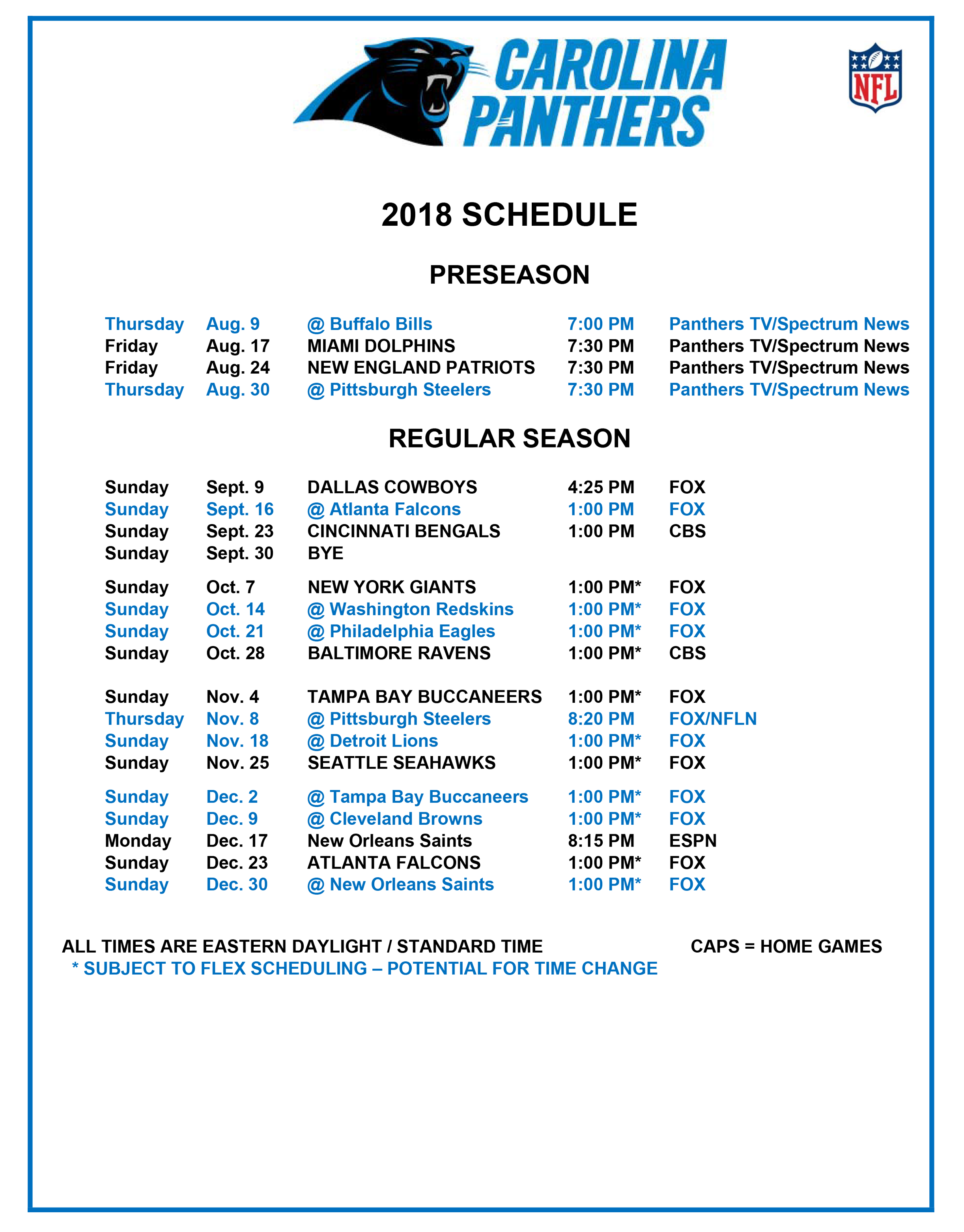 The Carolina Panthers Release Their 2018 Schedule - WCCB ...