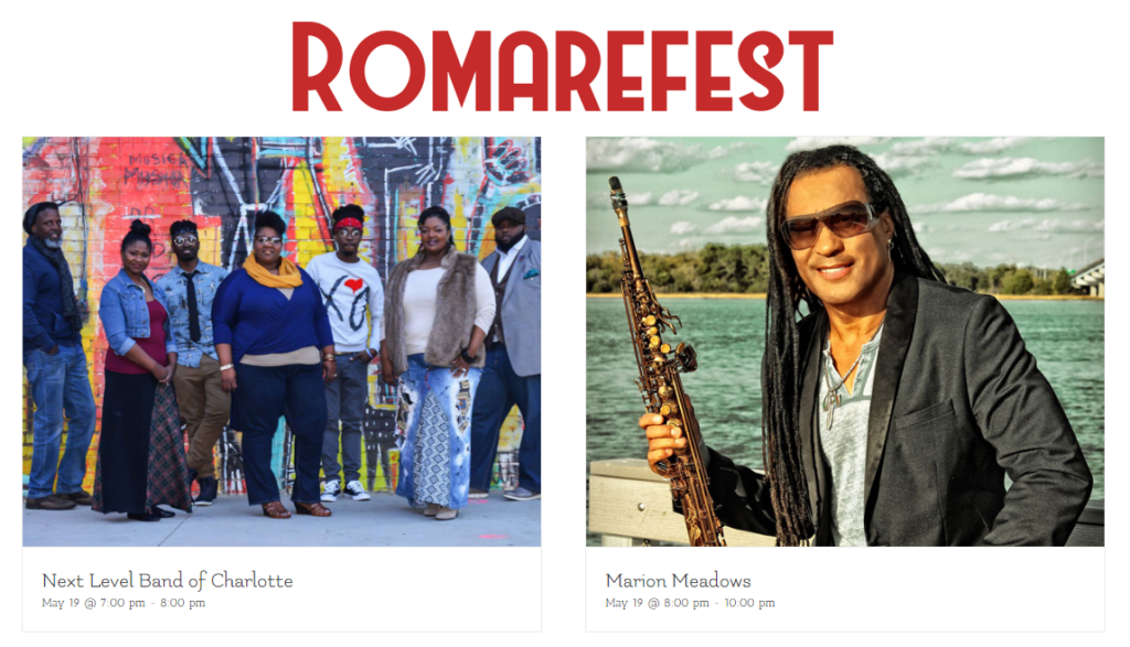 RomareFest logo and photos of Next Level Band and Marion Meadows