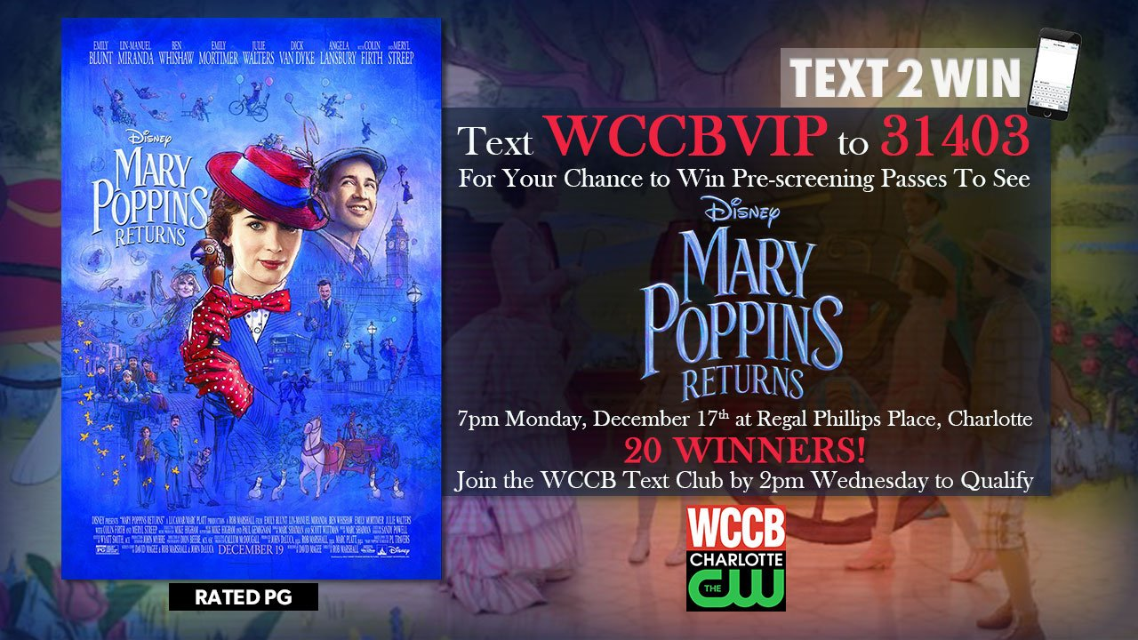Win pre-screening passes to see Mary Poppins Returns from WCCB Charlotte's CW