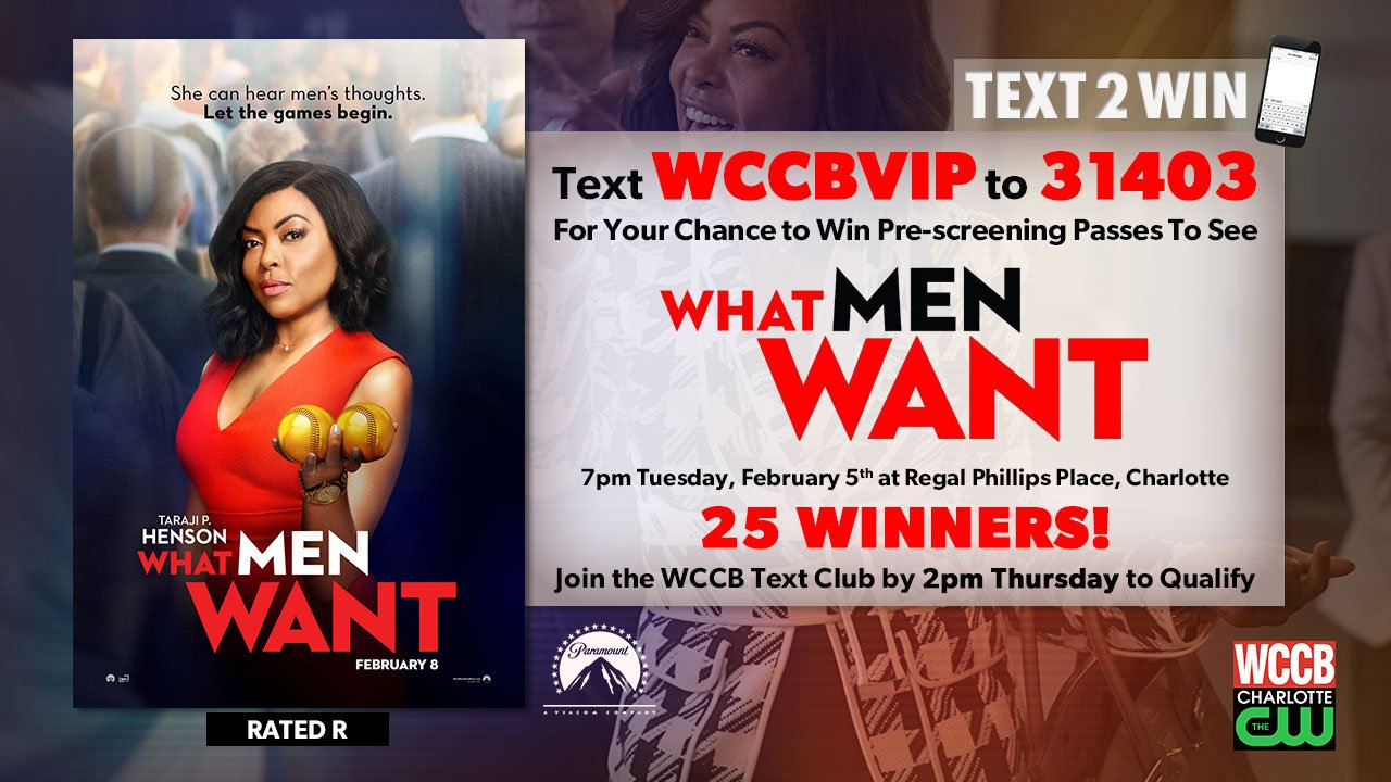 win pre-screening passes to see What Men Want from WCCB Charlotte's CW