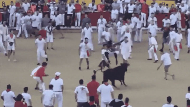 "Former Panthers' Cornerback Josh Norman Jumps Over Bull During Spain's ""Running Of The Bulls"""