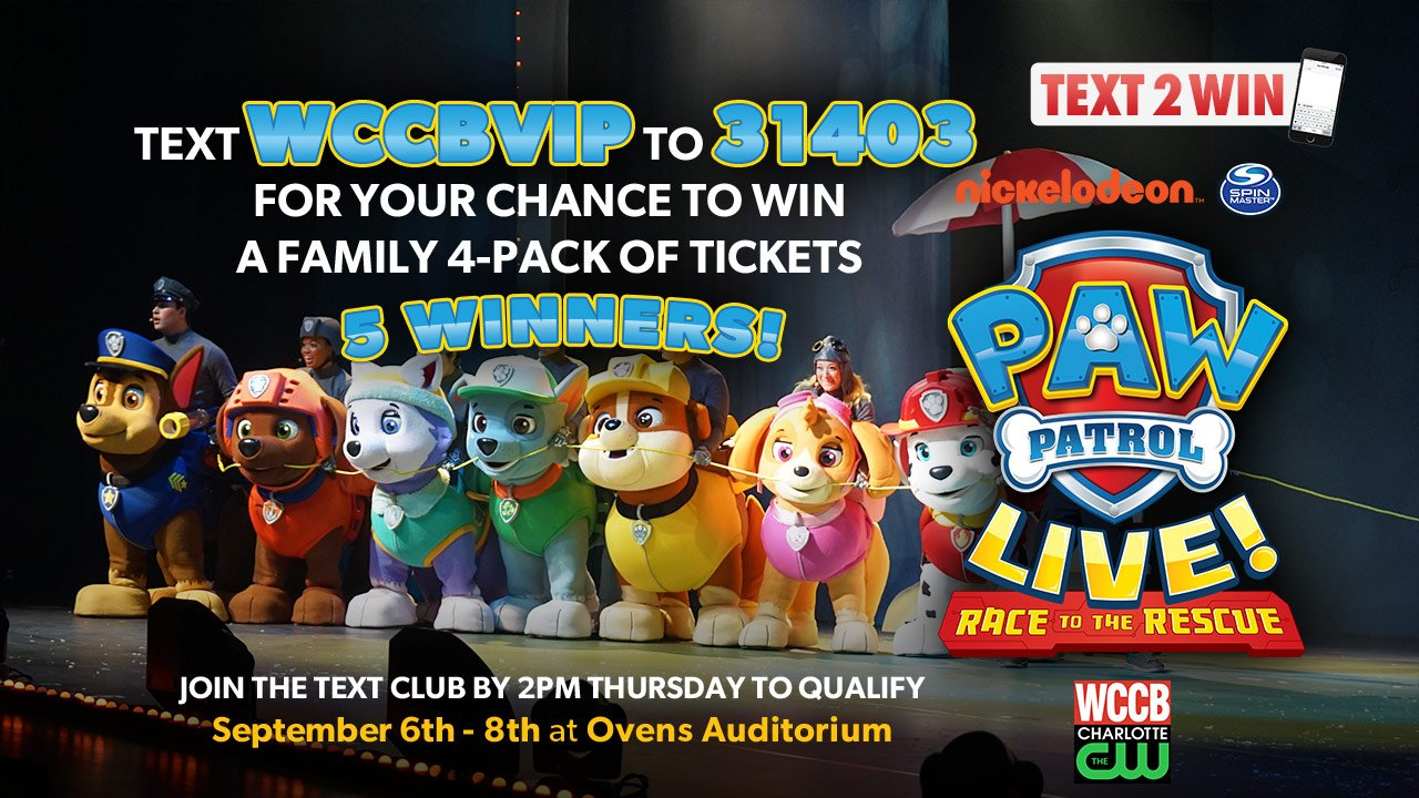 Win a family 4-pack of tickets to Paw Patrol LIVE! from WCCB Charlotte's CW
