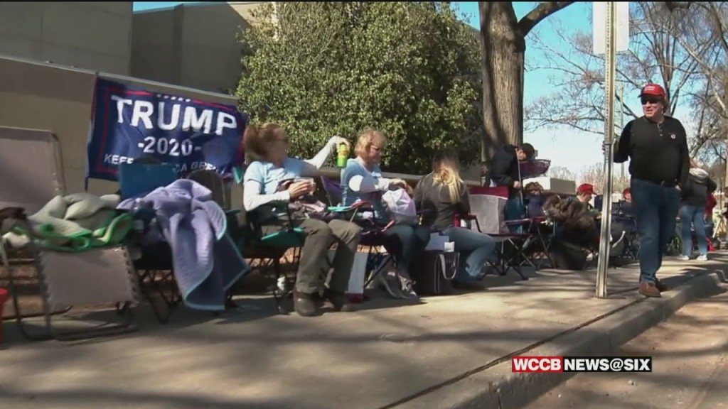 Supporters Camping Out A Day Before Trump Rally In Charlotte