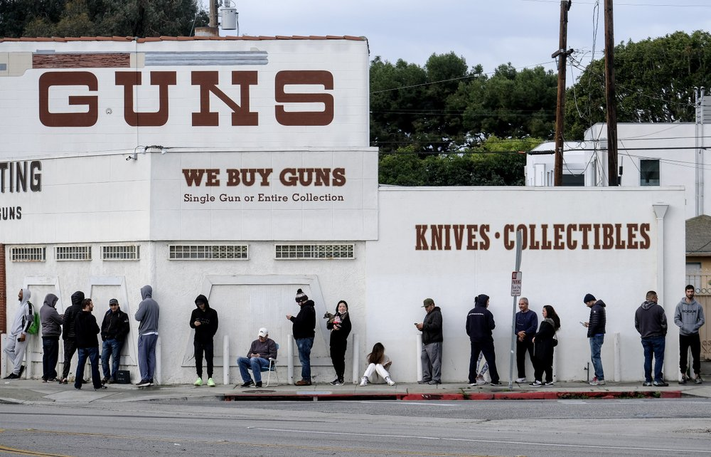 People Wait In A Line To Enter A Gun Store In Culver City, Calif