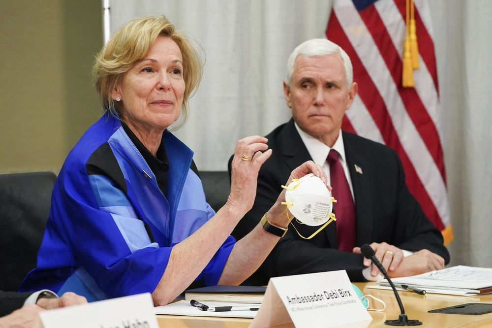 Dr. Deborah Birx, Ambassador And White House Coronavirus Response Coordinator, Holds A 3m N95 Mask As Vice President Mike Pence Visits 3m Headquarters In Maplewood, Minn