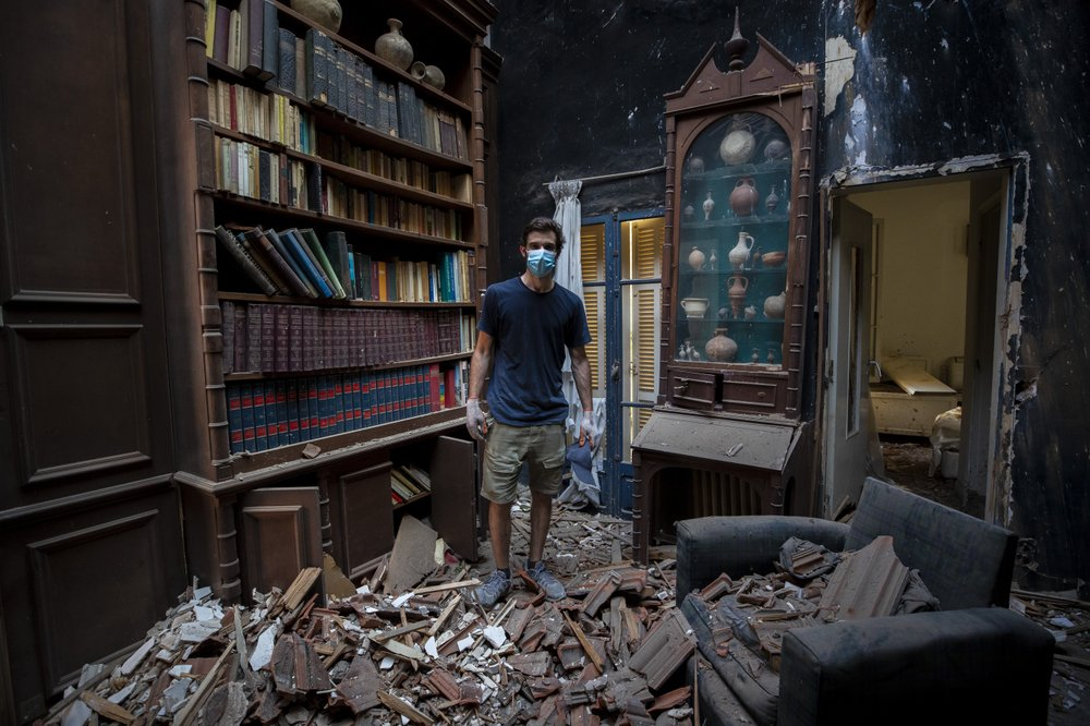 Said Al Assaad, 24, Poses For A Photograph Inside His Grandfather's Destroyed Villa After Tuesday's Explosion In The Seaport Of Beirut, Lebanon