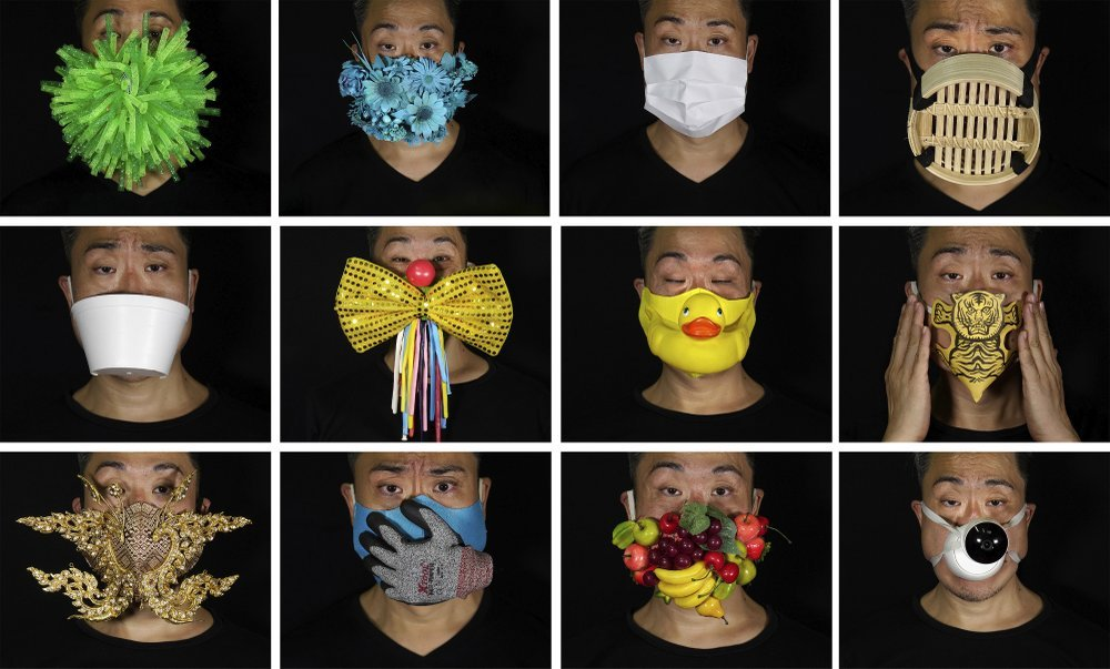 This Combination Of Photos Shows Edmond Kok, A Hong Kong Theater Costume Designer And Actor, Wearing A Variety Of Face Masks He Made To Protect Against The Coronavirus In Hong Kong