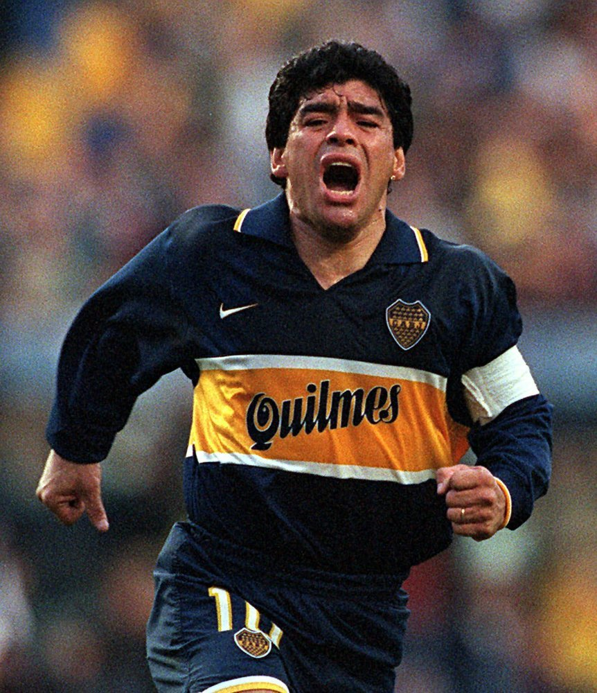 Diego Armando Maradona Celebrates A Goal On His Last Official Soccer Game With Boca Juniors In Buenos Aires, Argentina