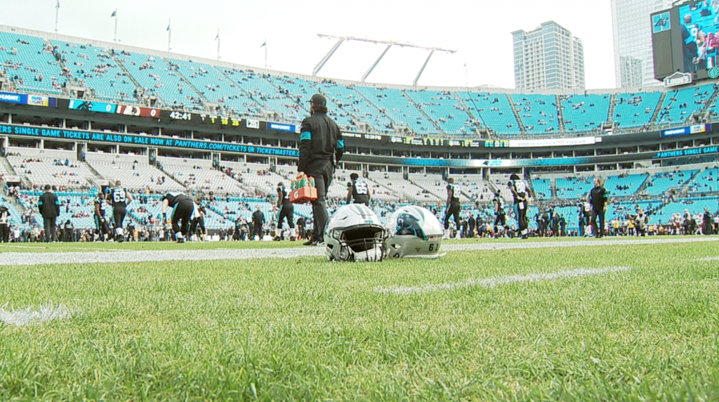 Panthers Warm Up On Grass