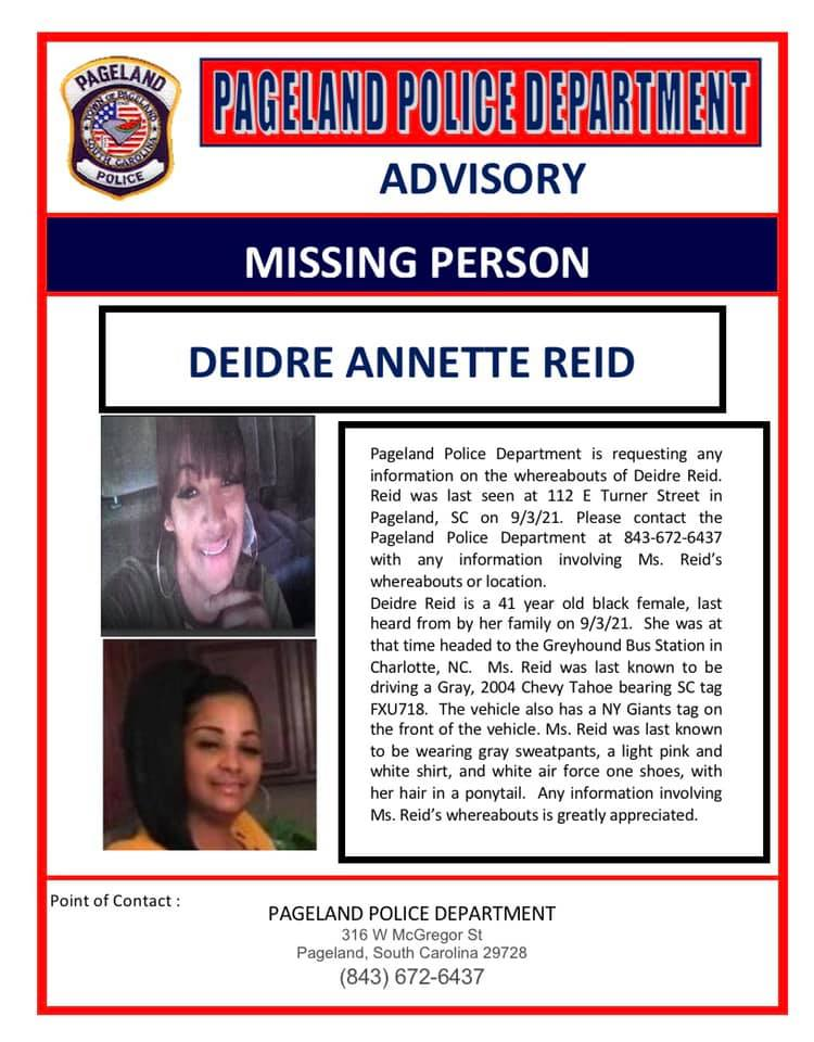 Pageland Missing Person Flyer
