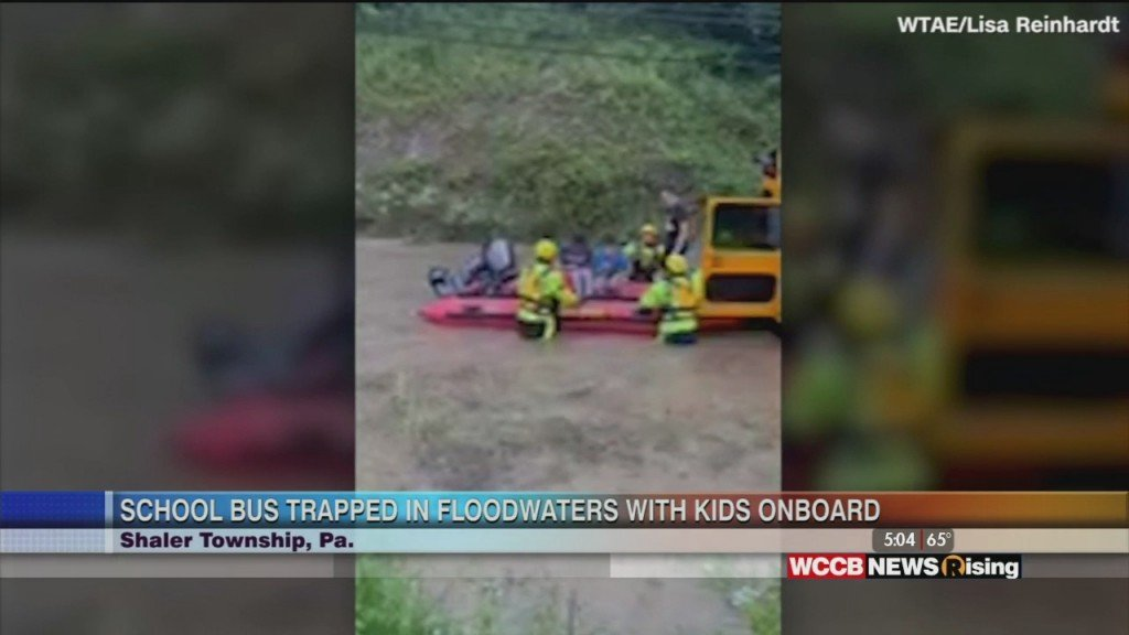 Bus Trapped In Floodwaters