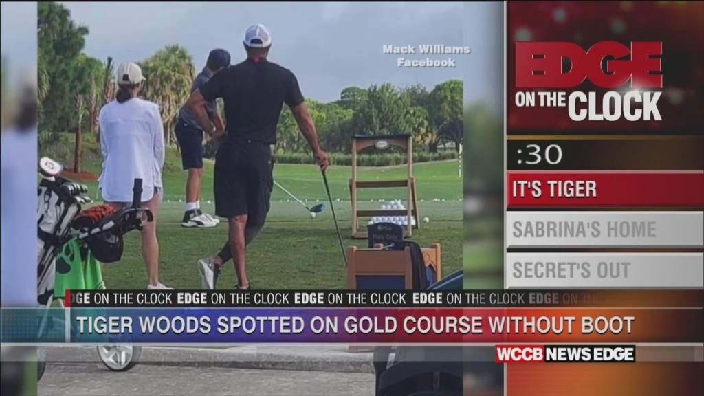 Edge On The Clock: Tiger Woods Seen Without Crutches For First Time Since February Car Crash