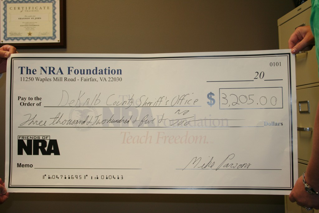 NRA Grant Check to DeKalb County Sheriff's Office