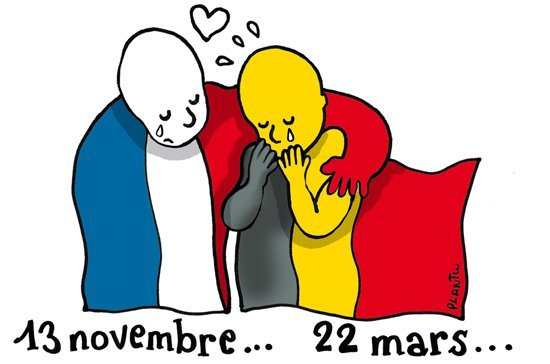 art work showing French solidarity with Belgium