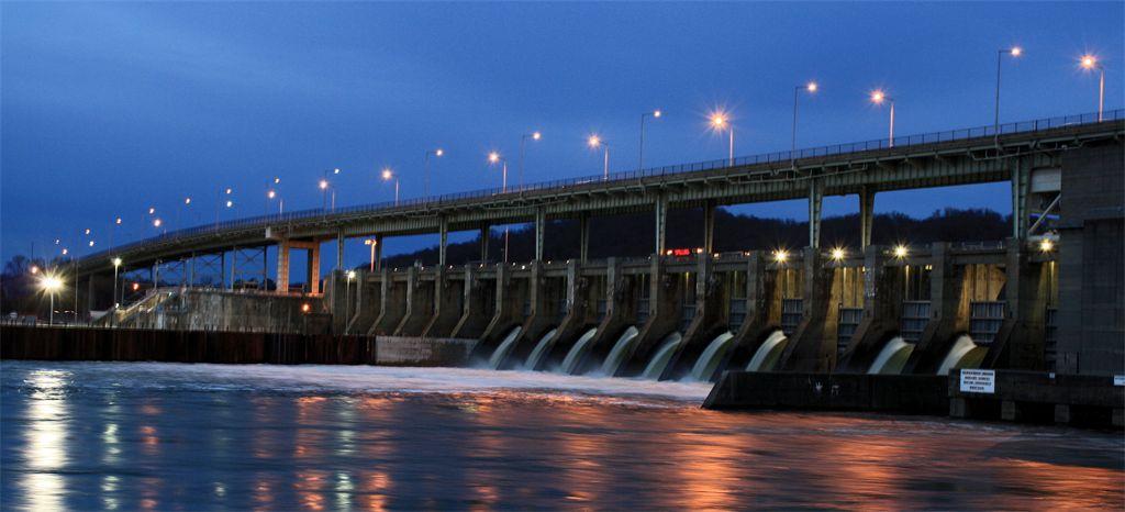 Chickamauga Dam with open locks. Photo taken by Joshua Isham of Red Bank
