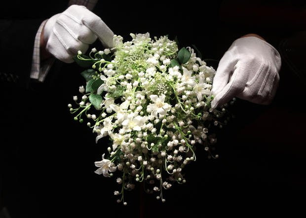 LONDON - JULY 20:  A recreation of the Duchess of Cambridge's wedding bouquet is photographed before it goes on display at Buckingham Palace during the annual summer opening on July 20