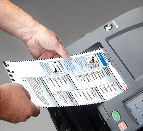 Dominion Voting Systems machine lets you pick on touch screen & prints paper copy of ballot