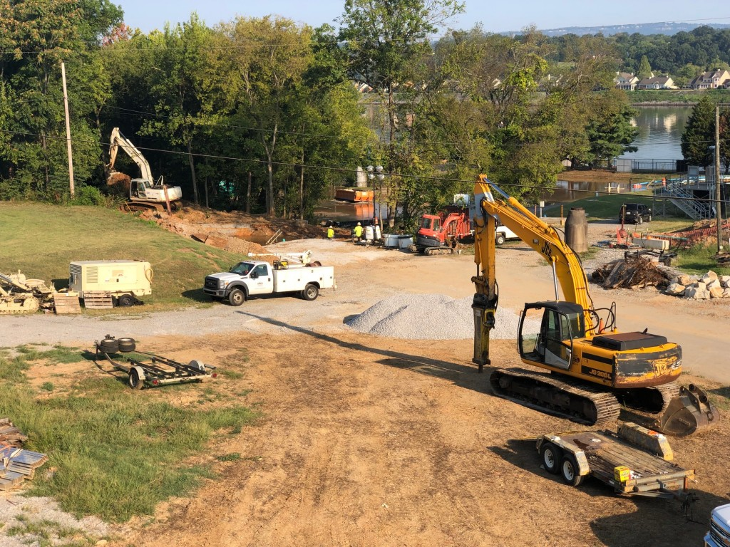 Crews working at Tennessee American Water Property off Riverside Drive in 2019