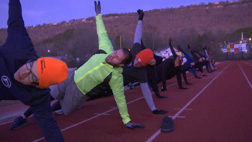 Men Working out at Red Bank High School Track for F3 on New Years 2020