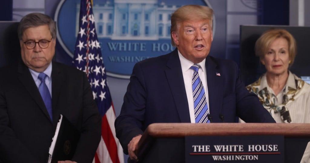 U.S. President Donald Trump addresses the coronavirus response daily briefing flanked by Attorney General William Barr and Ambassador Debbie Birx