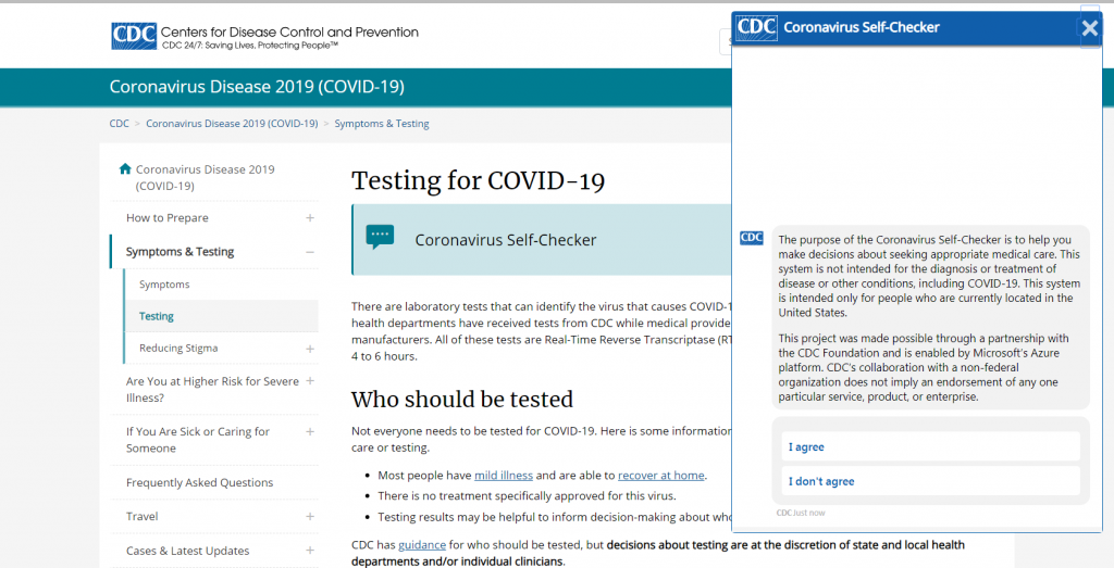 CDC Online Coronavirus Self-Testing Tool