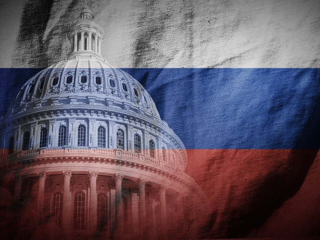 US Capitol and Russian flag