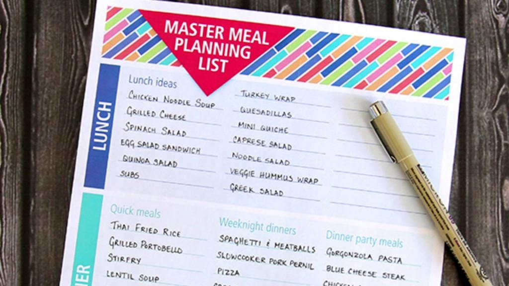 Mom To Mom Meal Plan Checklist