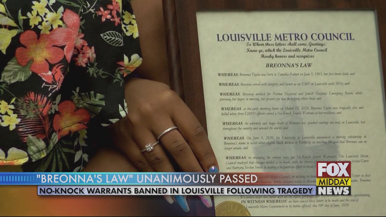 Breonna S Law Passed Bans No Knock Warrants In Louisville Ky Wfxb