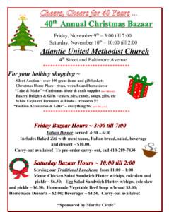Atlantic United Methodist Church 40th Annual Christmas Bazaar @ Atlantic United Methodist Church | Ocean City | Maryland | United States