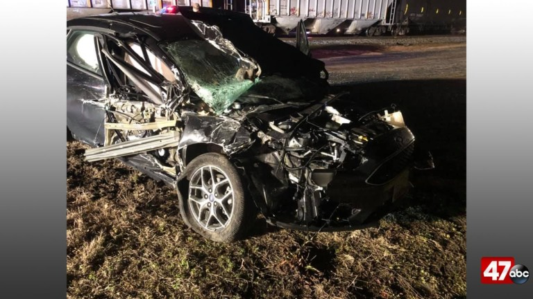 Car and train accident sends one person to the hospital - 47abc