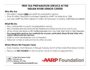 FREE AARP TAX PREPARATION SERVICE At the Indian River Senior Center @ Indian River Senior Center | Millsboro | Delaware | United States