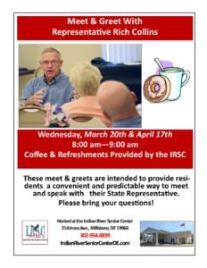 Representative Rich Collins Meet & Greet @ Indian River Senior Center | Millsboro | Delaware | United States