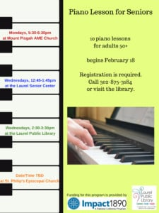 Piano Lessons for Adults 50+ @ Laurel Senior Center | Laurel | Delaware | United States