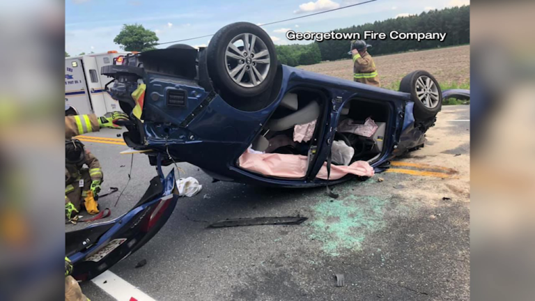 Rollover crash in Georgetown sends one to hospital - 47abc
