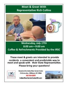 Meet & Greet with Representative Rich Collins @ Indian River Senior Center | Millsboro | Delaware | United States