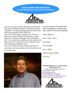 Book Signing & Discussion with John Shields @ Governors Hall at Sailwinds Park | Cambridge | Maryland | United States