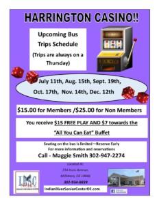 Harrington Casino Bus Trip @ Indian River Senior Center