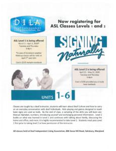 Spring ASL Level 1 Classes @ Deaf Independent Living Association