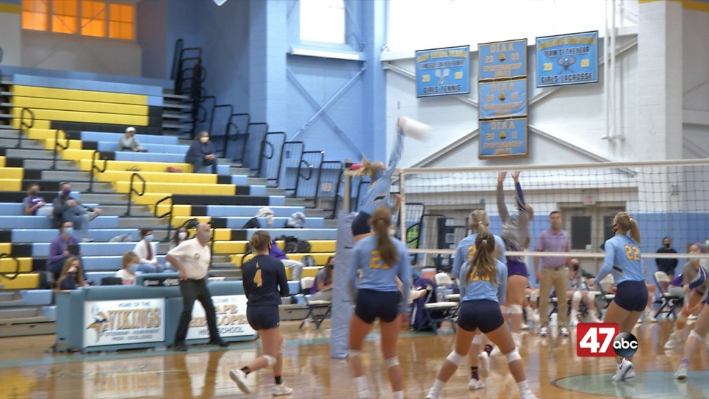 Cape Henlopen's Rileigh Wilson Scores One Of Her 15 Kills Against Delmarva Christian