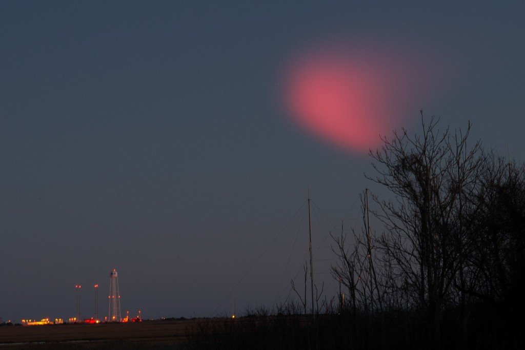 Rocket Launch Creates Pink Cloud