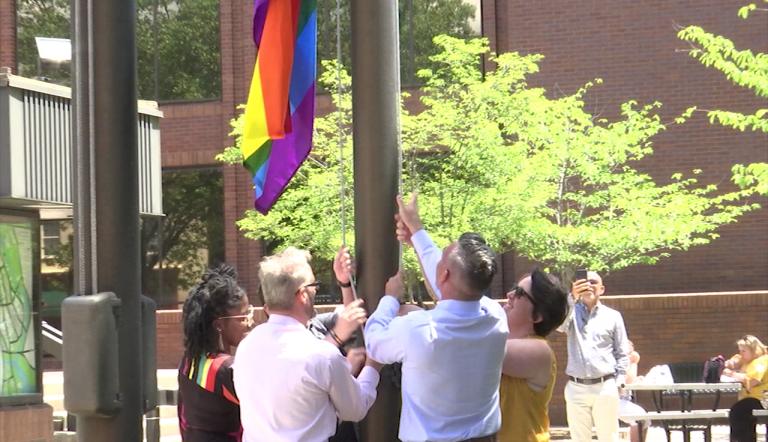 PFLAG Organizers Raise Pride Flag in Downtown Salisbury