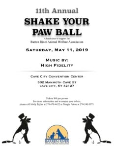 11th Annual Shake Your Paw Ball benefitting BRAWA @ Cave City Convention Center | Cave City | Kentucky | United States