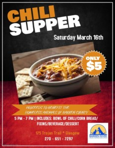 Chili Supper @ Barren River Animal Welfare Association | Glasgow | Kentucky | United States