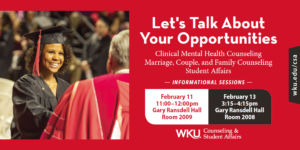 WKU's Counseling & Student Affairs Information Session @ Gary Ransdell Hall, Room 2008 | Bowling Green | Kentucky | United States