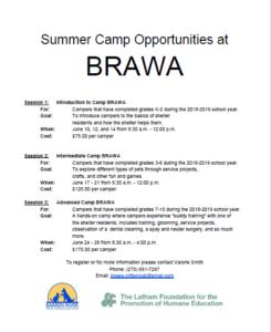 BRAWA Camp 2019 - Open Registration @ Barren River Animal Welfare Association | Glasgow | Kentucky | United States